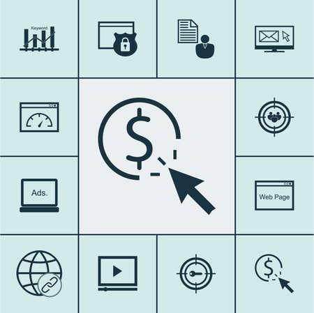 Ensemble de 12 icônes publicitaires. Peut être utilisé pour Web, Mobile, UI et conception infographique. Inclut des éléments tels que payer, homme d'affaires, correspondant et plus.