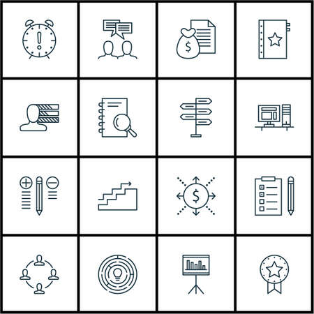 Set Of 16 Project Management Icons. Can Be Used For Web, Mobile, UI And Infographic Design. Includes Elements Such As Computer, Brainstorm, Statistic And More.