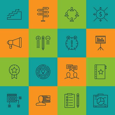 personality development: Set Of 16 Project Management Icons. Can Be Used For Web, Mobile, UI And Infographic Design. Includes Elements Such As Money, Win, Statistics And More. Illustration