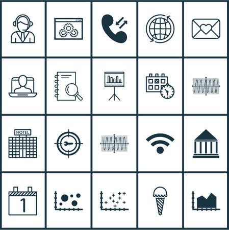 world receiver: Set Of 20 Universal Editable Icons. Can Be Used For Web, Mobile And App Design. Includes Elements Such As Hotel Construction, Sinus Graph, Social Profile And More.