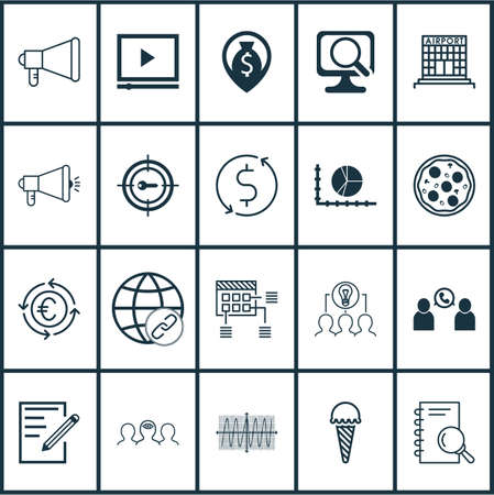 Set Of 20 Universal Editable Icons. Can Be Used For Web, Mobile And App Design. Includes Elements Such As Frozen Food, Phone Conference, Announcement And More.
