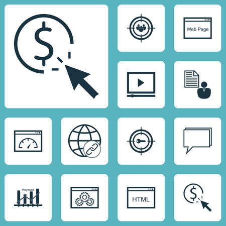 Ensemble de 12 icônes de SEO. Peut être utilisé pour Web, Mobile, UI et conception infographique. Inclut des éléments tels que le Web, le client, la cible, etc.