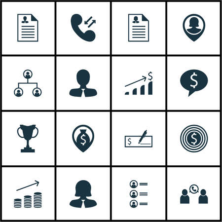 Set Of 16 Hr Icons. Can Be Used For Web, Mobile, UI And Infographic Design. Includes Elements Such As Prize, Cup, Opinion And More.