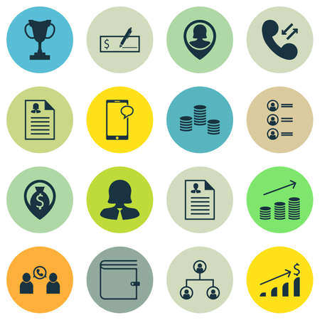 list of successful candidates: Set Of 16 Management Icons. Can Be Used For Web, Mobile, UI And Infographic Design. Includes Elements Such As Money, Check, Profile And More. Illustration