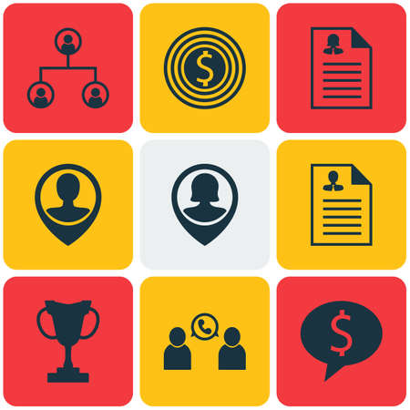 ability to speak: Set Of 9 Management Icons. Can Be Used For Web, Mobile, UI And Infographic Design. Includes Elements Such As Female, Prize, Phone And More. Illustration