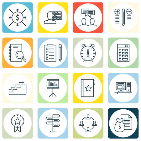 personality development: Set Of 16 Project Management Icons. Can Be Used For Web, Mobile, UI And Infographic Design. Includes Elements Such As Budget, Statistics, Investment And More.