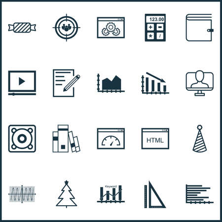 Set Of 20 Universal Editable Icons. Can Be Used For Web, Mobile And App Design. Includes Elements Such As Birthday Hat, Video Player, Online Identity And More. Illustration