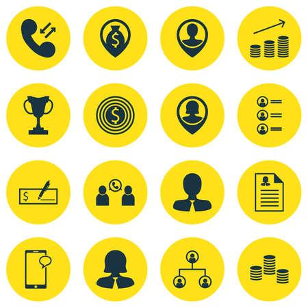 Ensemble de 16 icônes de gestion. Peut être utilisé pour Web, Mobile, UI et conception infographique. Inclut des éléments tels que Mobile, Pin, Téléphone, etc.