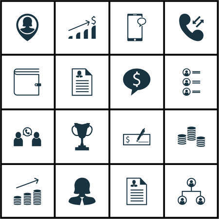 Set Of 16 Hr Icons. Can Be Used For Web, Mobile, UI And Infographic Design. Includes Elements Such As Money, Job, Dollar And More.