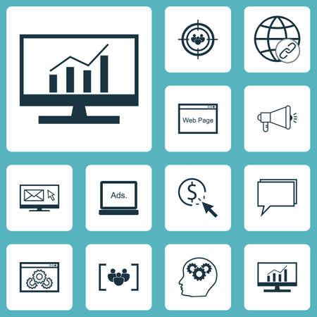 Ensemble de 12 icônes de référencement. Peut être utilisé pour le Web, Mobile, UI et conception infographique. Inclut des éléments tels que Bulding, Display, Performance And More.