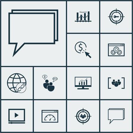 Ensemble de 12 icônes marketing. Peut être utilisé pour le Web, Mobile, UI et conception infographique. Inclut des éléments tels que l'audience, le marketing, le classement et plus encore.