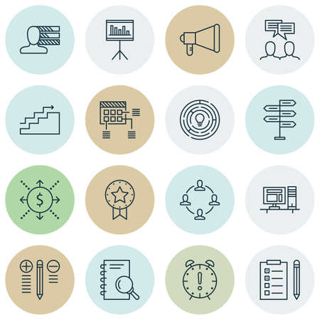 charter: Set Of 16 Project Management Icons. Can Be Used For Web, Mobile, UI And Infographic Design. Includes Elements Such As Discussion, Brainstorming, Reminder And More.