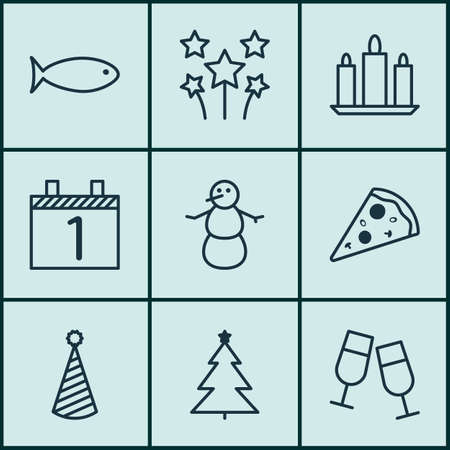 2 months: Set Of 9 New Year Icons. Can Be Used For Web, Mobile, UI And Infographic Design. Includes Elements Such As Food, Flame, Firework And More. Illustration