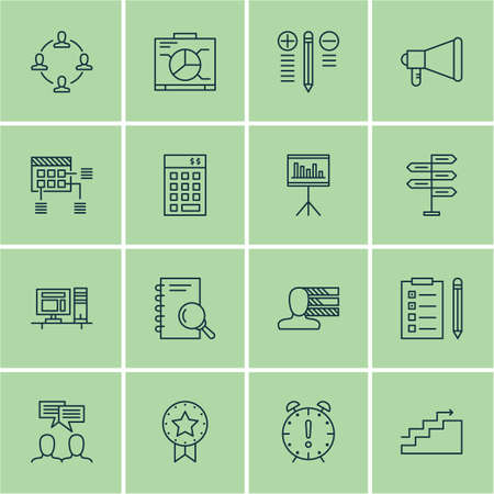 project charter: Set Of 16 Project Management Icons. Can Be Used For Web, Mobile, UI And Infographic Design. Includes Elements Such As Time, Presentation, Schedule And More.