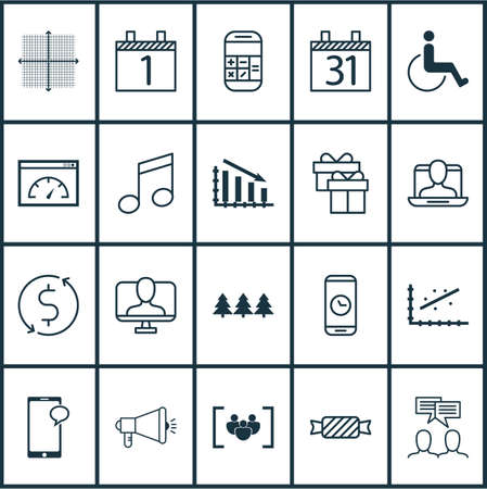 accessibility: Set Of 20 Universal Editable Icons. Can Be Used For Web, Mobile And App Design. Includes Elements Such As Media Campaign, Analytics, Accessibility And More. Illustration
