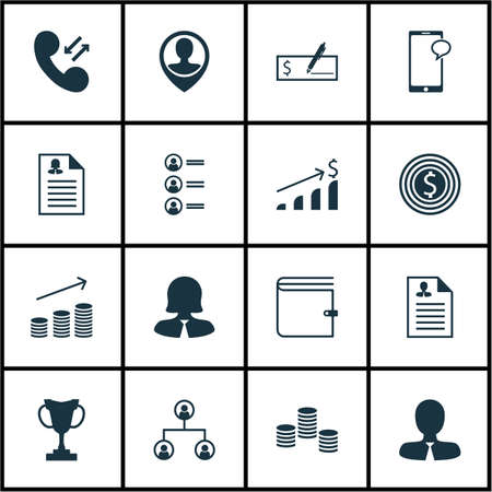 account executive: Set Of 16 Human Resources Icons. Can Be Used For Web, Mobile, UI And Infographic Design. Includes Elements Such As Money, Goal, Success And More.