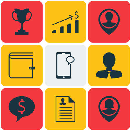 sms payment: Set Of 9 Human Resources Icons. Can Be Used For Web, Mobile, UI And Infographic Design. Includes Elements Such As Purse, User, Career And More.