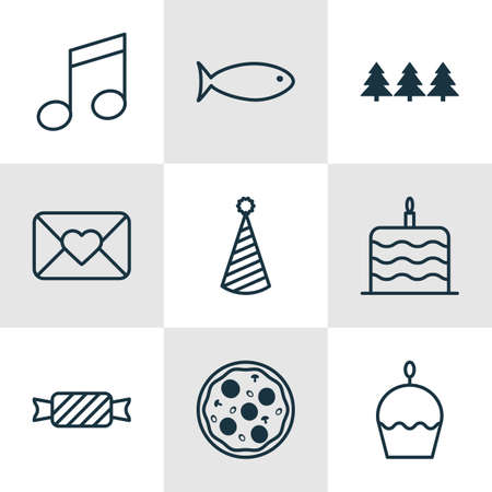 swimming candles: Set Of 9 Christmas Icons. Can Be Used For Web, Mobile, UI And Infographic Design. Includes Elements Such As Tree, Cake, Celebration And More.