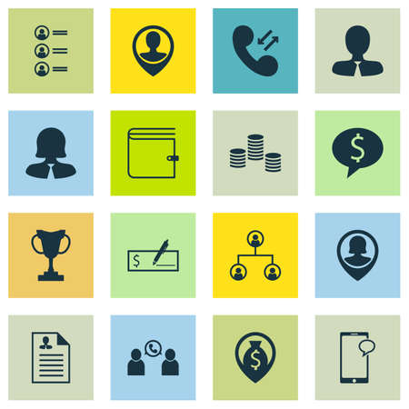 Set Of 16 Management Icons. Can Be Used For Web, Mobile, UI And Infographic Design. Includes Elements Such As Map, Call, Structure And More.