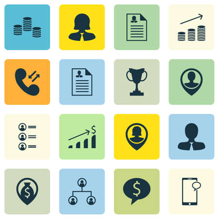 the applicant: Set Of 16 Human Resources Icons. Can Be Used For Web, Mobile, UI And Infographic Design. Includes Elements Such As Male, Employee, Job And More.