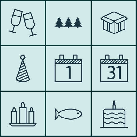 swimming candles: Set Of 9 Holiday Icons. Can Be Used For Web, Mobile, UI And Infographic Design. Includes Elements Such As Xmas, Schedule, Tree And More.