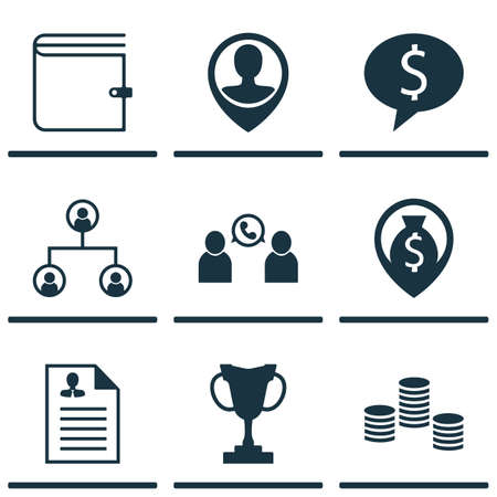 winning bid: Set Of 9 Management Icons. Can Be Used For Web, Mobile, UI And Infographic Design. Includes Elements Such As Trophy, Organisation, Opinion And More.