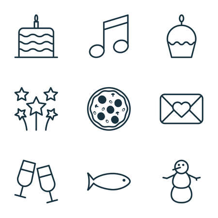 swimming candles: Set Of 9 Happy New Year Icons. Can Be Used For Web, Mobile, UI And Infographic Design. Includes Elements Such As Glasses, Birthday, Cake And More.