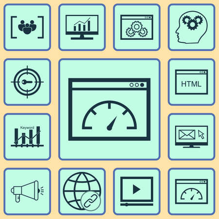 comprehensive: Set Of 12 Advertising Icons. Can Be Used For Web, Mobile, UI And Infographic Design. Includes Elements Such As Comprehensive, HTML, Newsletter And More. Illustration