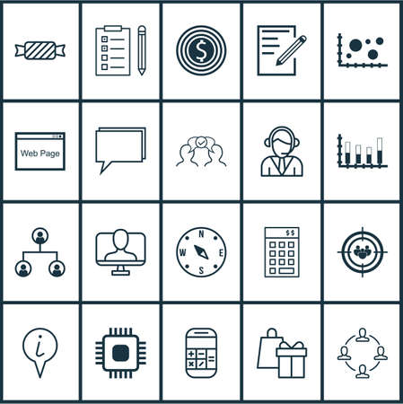 briefing: Set Of 20 Universal Editable Icons. Can Be Used For Web, Mobile And App Design. Includes Elements Such As Shopping, Calculation, Info Pointer And More. Illustration