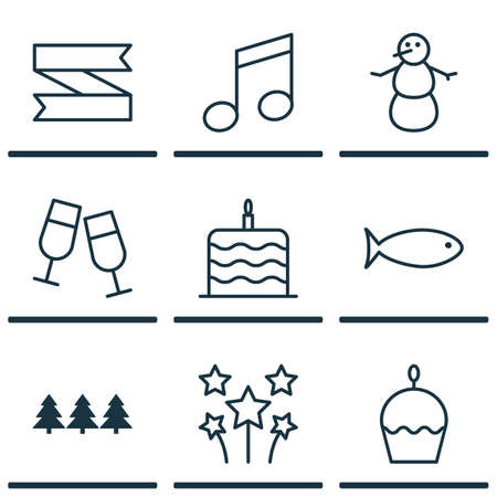 swimming candles: Set Of 9 Celebration Icons. Can Be Used For Web, Mobile, UI And Infographic Design. Includes Elements Such As Celebration, Food, Fish And More.