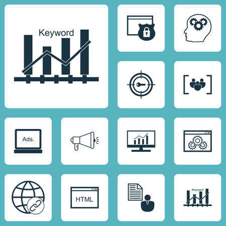 dynamic html: Set Of 12 Advertising Icons. Can Be Used For Web, Mobile, UI And Infographic Design. Includes Elements Such As Matching, Optimization, Protected And More. Illustration