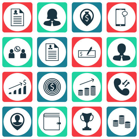 phone money: Set Of 16 Human Resources Icons. Can Be Used For Web, Mobile, UI And Infographic Design. Includes Elements Such As Career, Phone, Money And More.