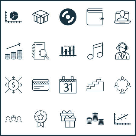 crotchets: Set Of 20 Universal Editable Icons. Can Be Used For Web, Mobile And App Design. Includes Elements Such As Wallet, Circle Graph, Crotchets And More.