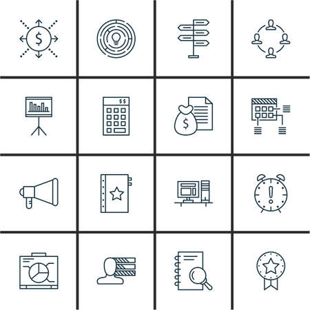 project charter: Set Of 16 Project Management Icons. Can Be Used For Web, Mobile, UI And Infographic Design. Includes Elements Such As Investment, Personal, Office And More.