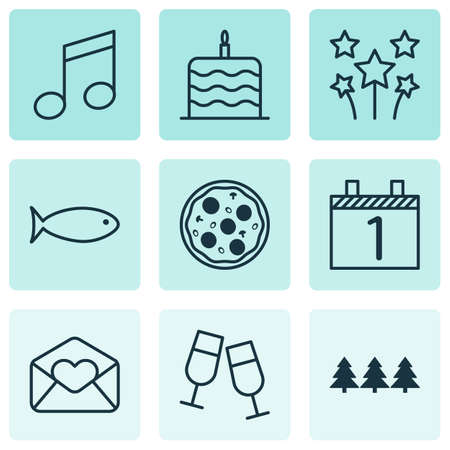 swimming candles: Set Of 9 New Year Icons. Can Be Used For Web, Mobile, UI And Infographic Design. Includes Elements Such As Christmas, Agenda, Glasses And More.