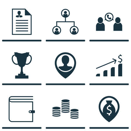 profit celebration: Set Of 9 Hr Icons. Can Be Used For Web, Mobile, UI And Infographic Design. Includes Elements Such As Structure, Dollar, Growth And More.