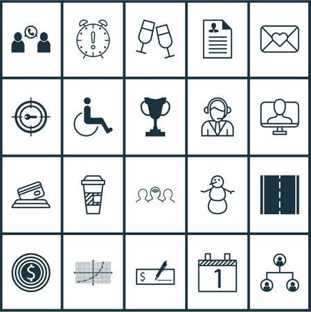 Set van 20 universele bewerkbare iconen. Kan worden gebruikt voor web-, mobiel- en app-ontwerp. Bevat elementen zoals telefoonconferentie, toegankelijkheid, operator en meer. Vector Illustratie