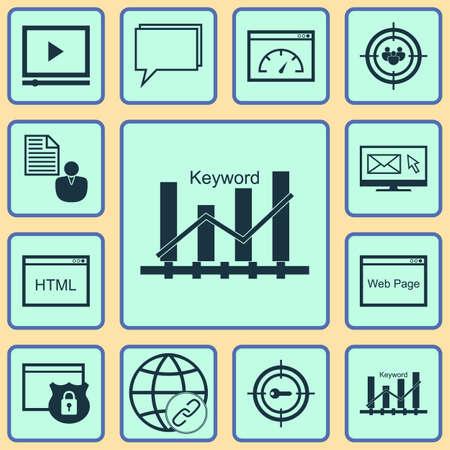 Ensemble de 12 icônes de marketing. Peut être utilisé pour la conception Web, mobile, UI et infographique. Comprend des éléments tels que la consultation, l'appariement, le classement et plus.