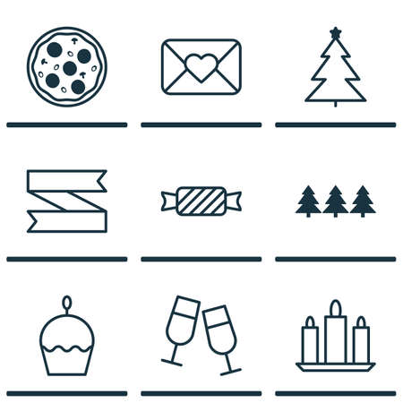 wax sell: Set Of 9 Christmas Icons. Can Be Used For Web, Mobile, UI And Infographic Design. Includes Elements Such As Wax, Candy, Christmas And More. Illustration