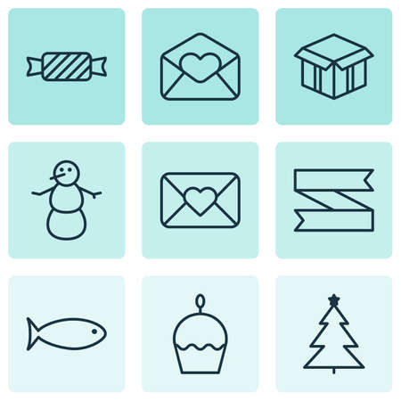 swimming candles: Set Of 9 Christmas Icons. Can Be Used For Web, Mobile, UI And Infographic Design. Includes Elements Such As Close, Cupcake, Snowman And More. Illustration