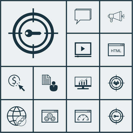 briefing: Set Of 12 SEO Icons. Can Be Used For Web, Mobile, UI And Infographic Design. Includes Elements Such As HTML, Analytics, Businessman And More.