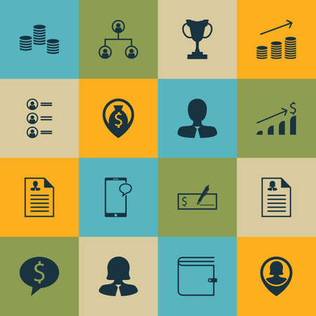 winning bid: Set Of 16 Management Icons. Can Be Used For Web, Mobile, UI And Infographic Design. Includes Elements Such As Tree, Cup, Application And More.