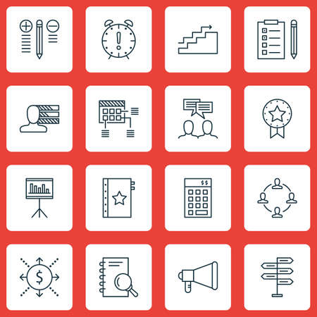 charter: Set Of 16 Project Management Icons. Can Be Used For Web, Mobile, UI And Infographic Design. Includes Elements Such As Teamwork, Research, Fork And More.