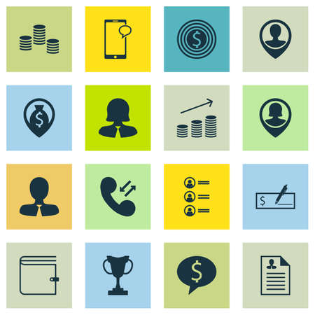 Set Of 16 Human Resources Icons. Can Be Used For Web, Mobile, UI And Infographic Design. Includes Elements Such As List, Cash, Success And More.