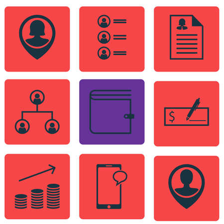 debt collection: Set Of 9 Human Resources Icons. Can Be Used For Web, Mobile, UI And Infographic Design. Includes Elements Such As Chat, Structure, Purse And More.
