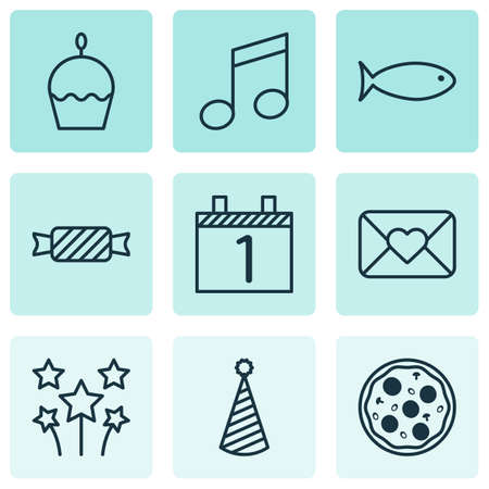 Set Of 9 New Year Icons. Can Be Used For Web, Mobile, UI And Infographic Design. Includes Elements Such As Pizzeria, Fish, Party And More.