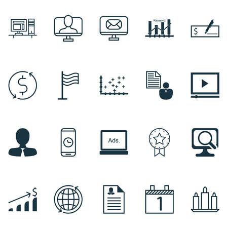 Set Of 20 Universal éditables Icons. Peut être utilisé pour le Web, Mobile Et App Design. Des éléments tels que lecteur vidéo, demande Femme, Paiement Banque Et Plus.