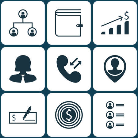 Set Of 9 Human Resources Icons. Can Be Used For Web, Mobile, UI And Infographic Design. Includes Elements Such As Bank, Structure, Employee And More. Illustration