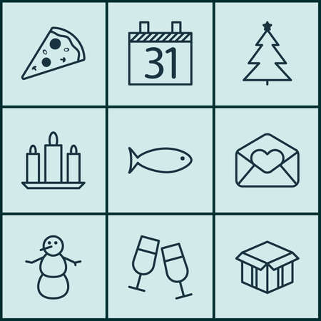 swimming candles: Set Of 9 Celebration Icons. Can Be Used For Web, Mobile, UI And Infographic Design. Includes Elements Such As Christmas, Snowman, Schedule And More.