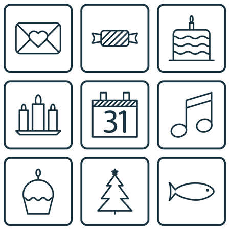 swimming candles: Set Of 9 Holiday Icons. Can Be Used For Web, Mobile, UI And Infographic Design. Includes Elements Such As Birthday, Cake, Fish And More. Illustration